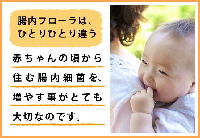 腸内フローラは、ひとりひとりちがう。赤ちゃんの頃から住む腸内細菌を、増やす事がとても大切なのです。